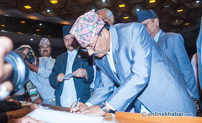 Kanal-Thapa-sign-on-the-Constitution-of-Nepal