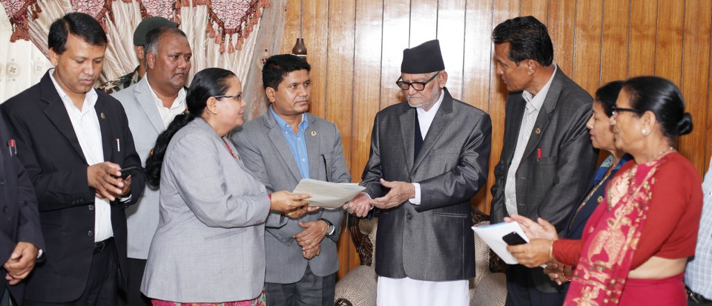 Constitution Assembly members from Kaski district submits memorandum to the Prime Minister Sushil Koirala on Wednesday at PM's Official Residence, Kathmandu, where they demands to provide proper relief and settlement to the people suffered from landslide on Bhadra 13 from the Nepal government. Photo: Kumar Shrestha, RSS